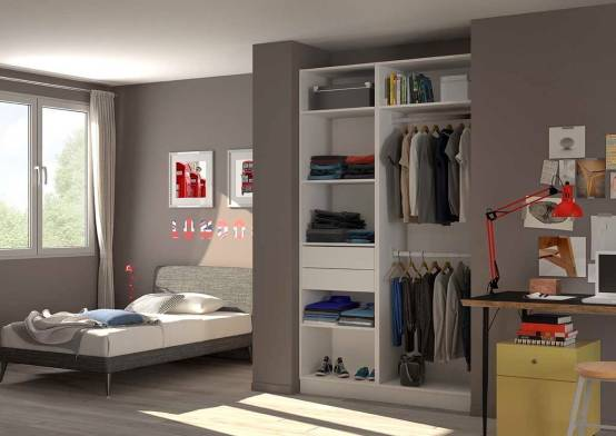 placard dressing chambre d 39 adolescent par homify. Black Bedroom Furniture Sets. Home Design Ideas