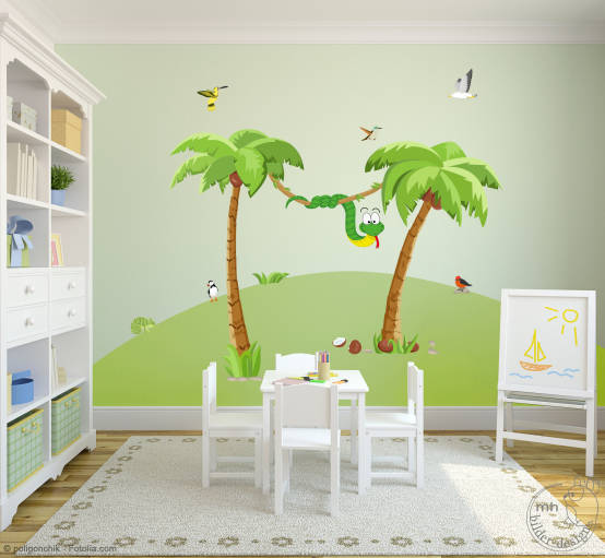 wandtattoos dschungel im kinderzimmer. Black Bedroom Furniture Sets. Home Design Ideas