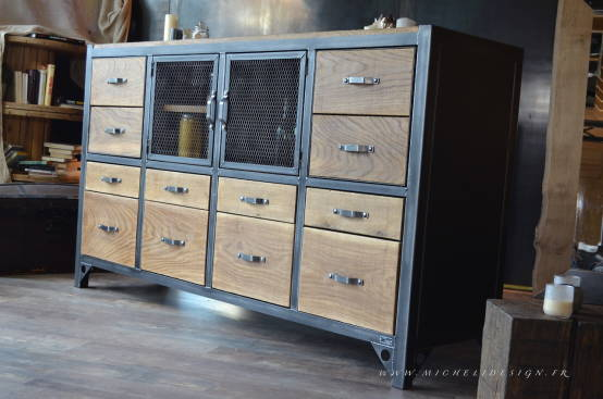 nos meubles de rangement buffets et bahuts de style industriel. Black Bedroom Furniture Sets. Home Design Ideas