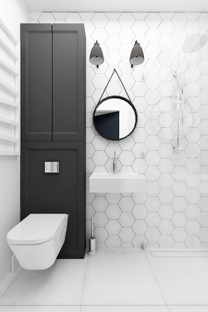 Baños Estilo Eclectico:Hexagon Tile Bathroom