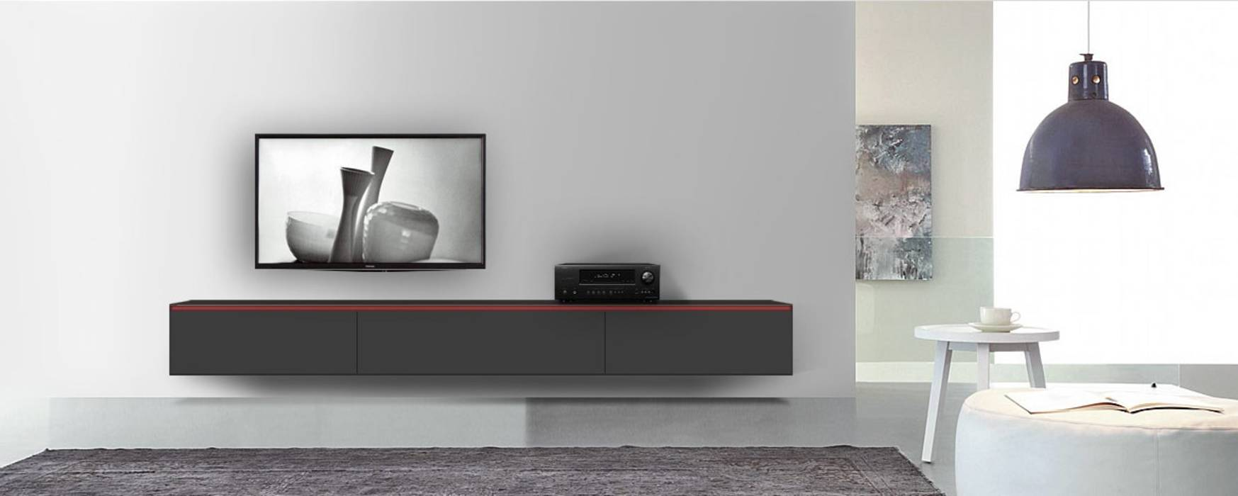 moderne wohnzimmer bilder reverse tv lowboard konfigurator 3m schwarz matt mit griff rot homify. Black Bedroom Furniture Sets. Home Design Ideas