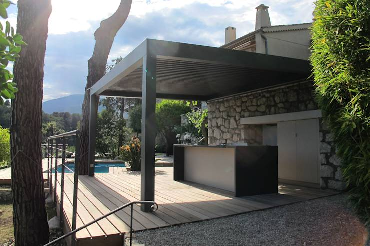 Deck piscine et cuisine d 39 ext rieur par inside cr ation - Cuisine d ete amenagement ...