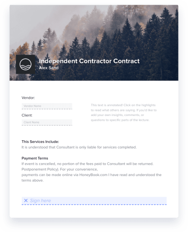 Independent Contractor Contract Sample (PDF) Invoice