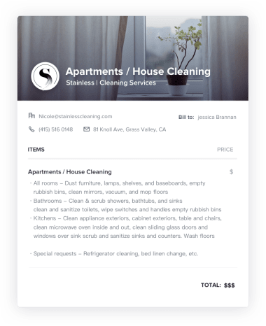 Apartment & Private Home Cleaning Invoice