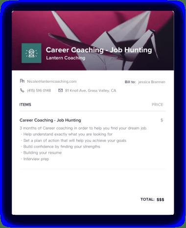 Career Coaching Invoice