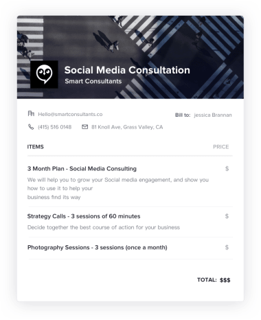 Social Media Consulting Invoice