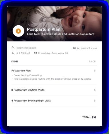 Postpartum Plan Invoice
