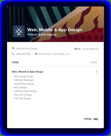 Web, Mobile & App Design Invoice