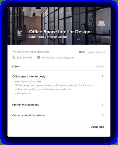Office Space Interior Design Invoice