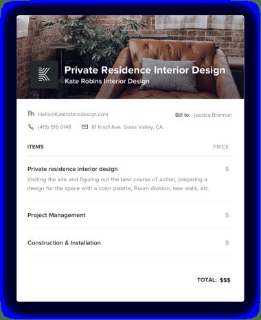 Private Residence Interior Design Invoice