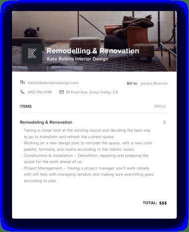 Remodeling & Renovation Fix Invoice