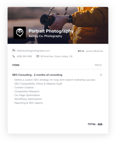 Portrait Photography Invoice