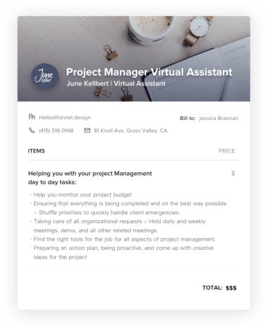 Project Manager Virtual Assistant Invoice