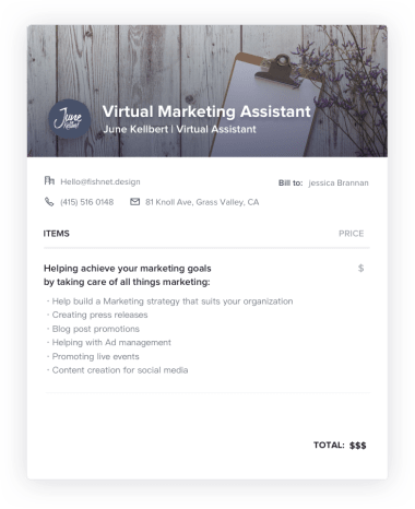 Virtual Marketing Assistant Invoice