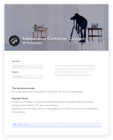 Photography Independent Contractor Contract Invoice