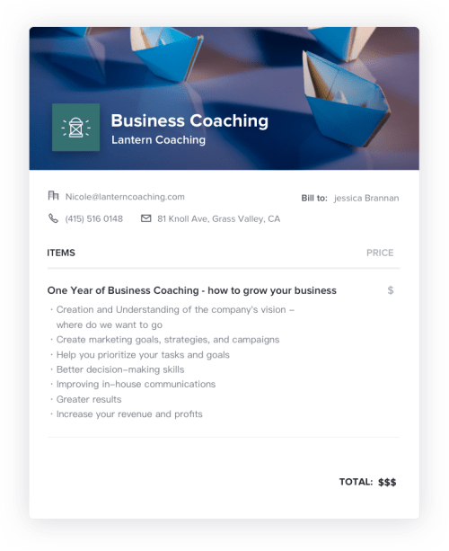 Business Coach Invoice