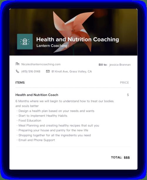 Health Coach Invoice