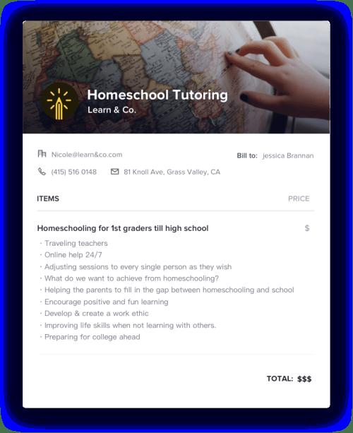 Homeschool Tutoring Invoice