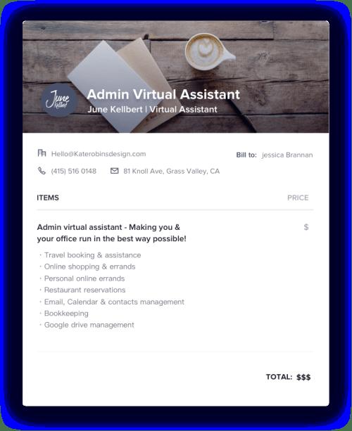 Admin Virtual Assistant Invoice