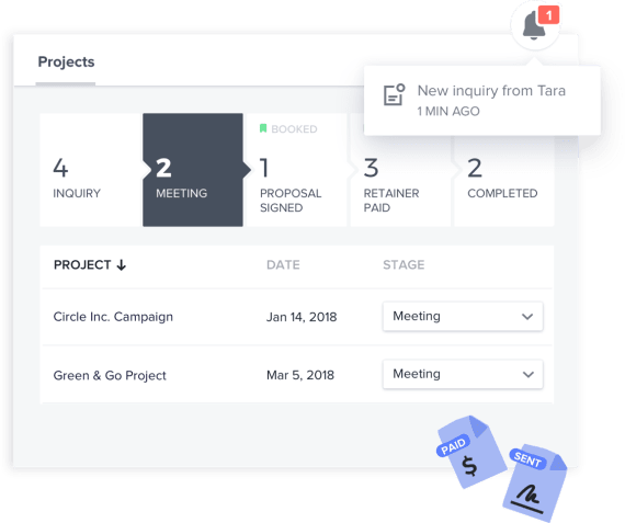 Easily manage projects from first inquiry to final payment