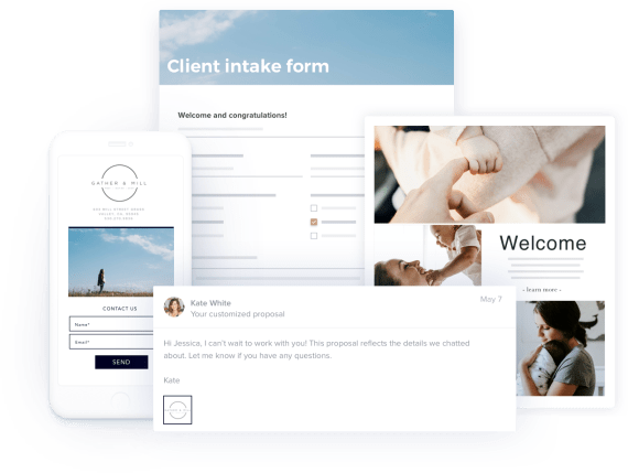 Showcase your doula services and gather client info with branded forms
