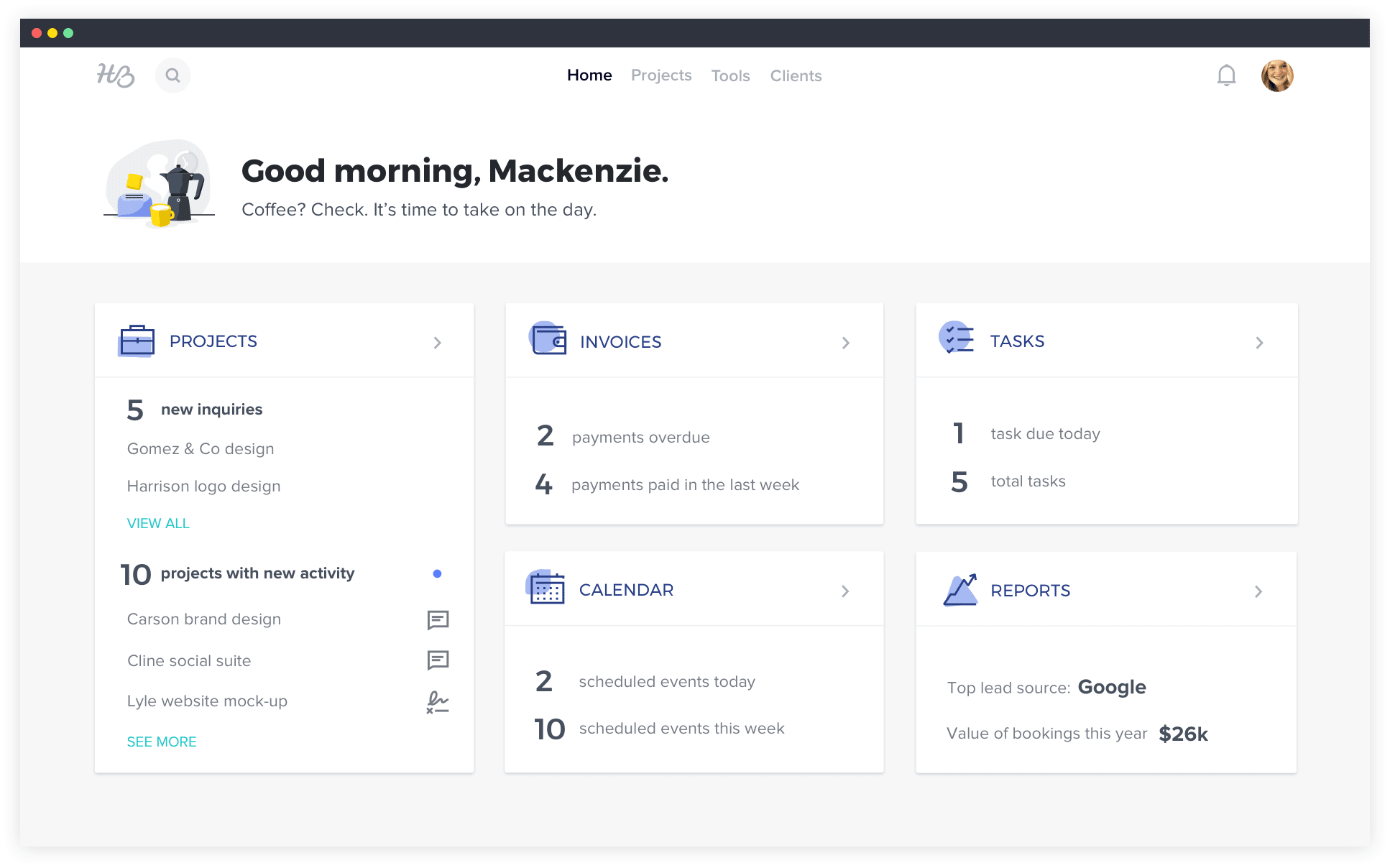 HoneyBook product desktop screen