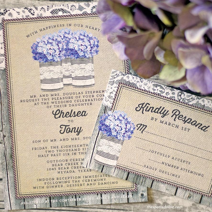 Rustic Hydrangeas Wedding Invitations   HoneyBook