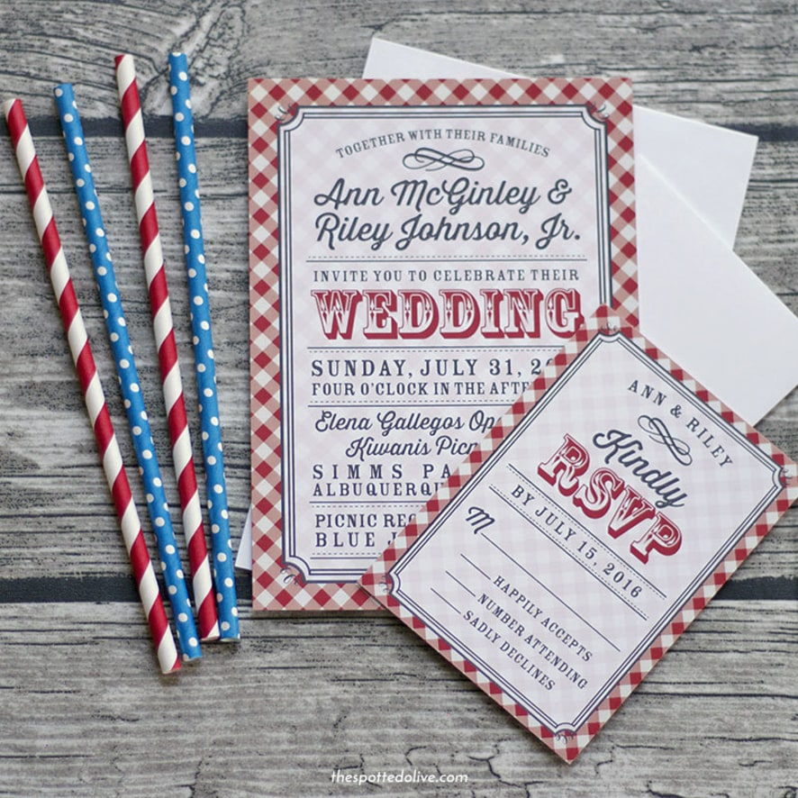 country gingham wedding invitations honeybook