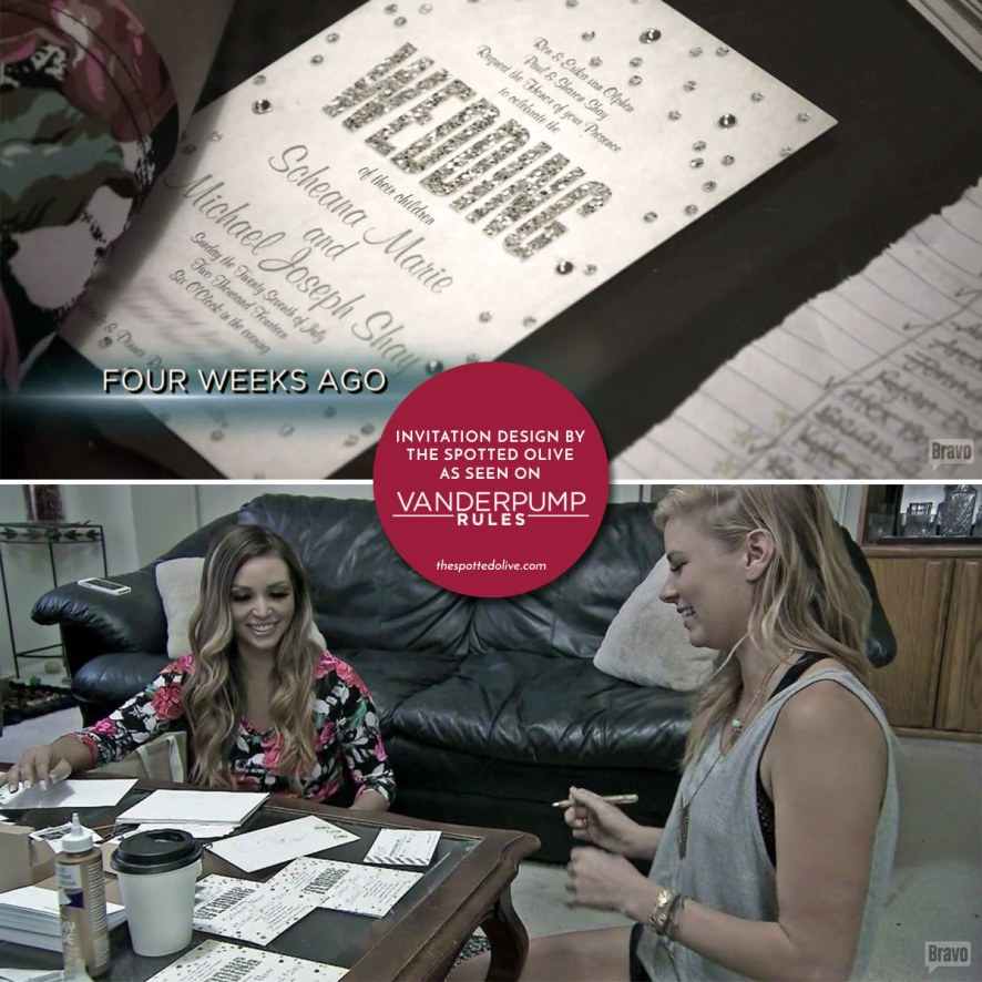 Our wedding invites on vanderpump rules honeybook the spotted olives champagne confetti wedding invitations were featured on bravo tvs vanderpump rules for scheana mikes wedding stopboris Choice Image