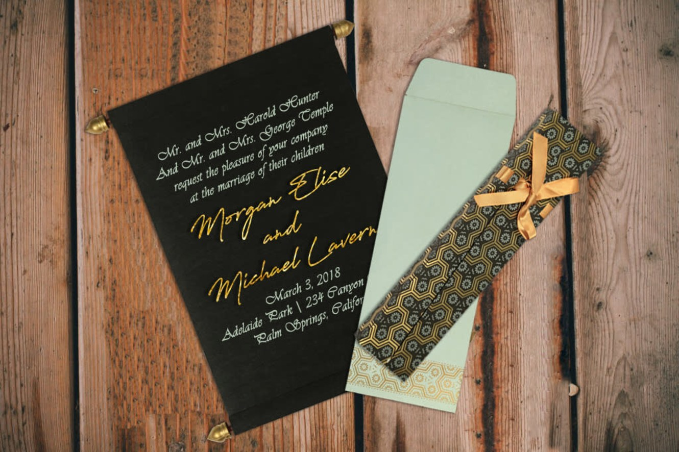 Black scroll invitations sc 5014i honeybook product details envelope made from 130 gsm sky blue color shimmer paper card made from 60 gsm black color wooly paper product price 200 shop stopboris Gallery