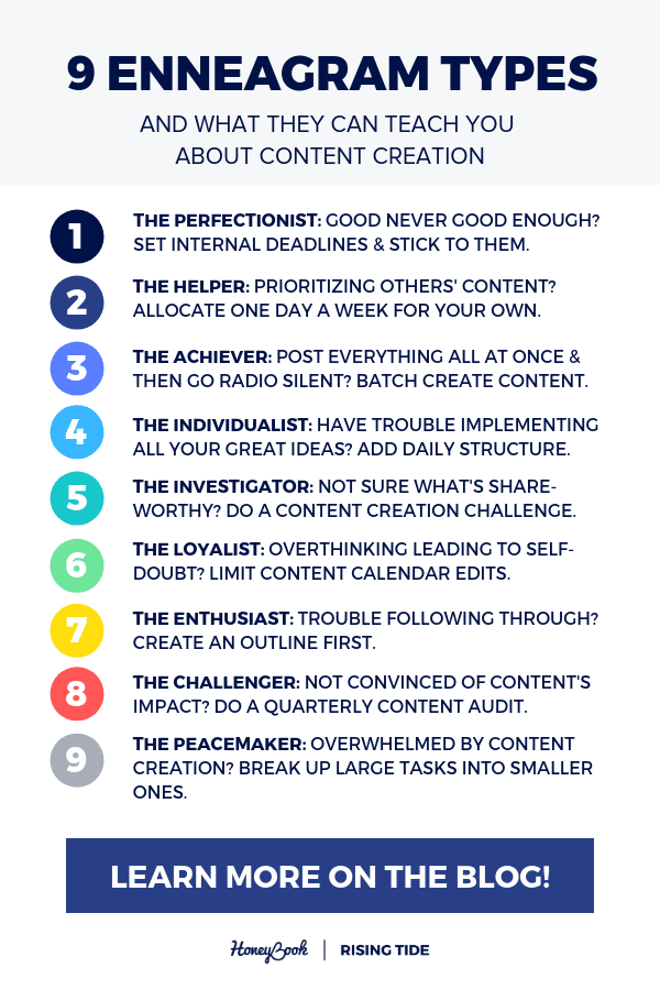 9 enneagram types and what they can teach you about content creation - honeybook blog