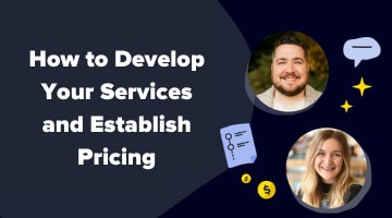 How to develop your services and establish pricing graphic showing Mac Hughes and Michael Tatonetti