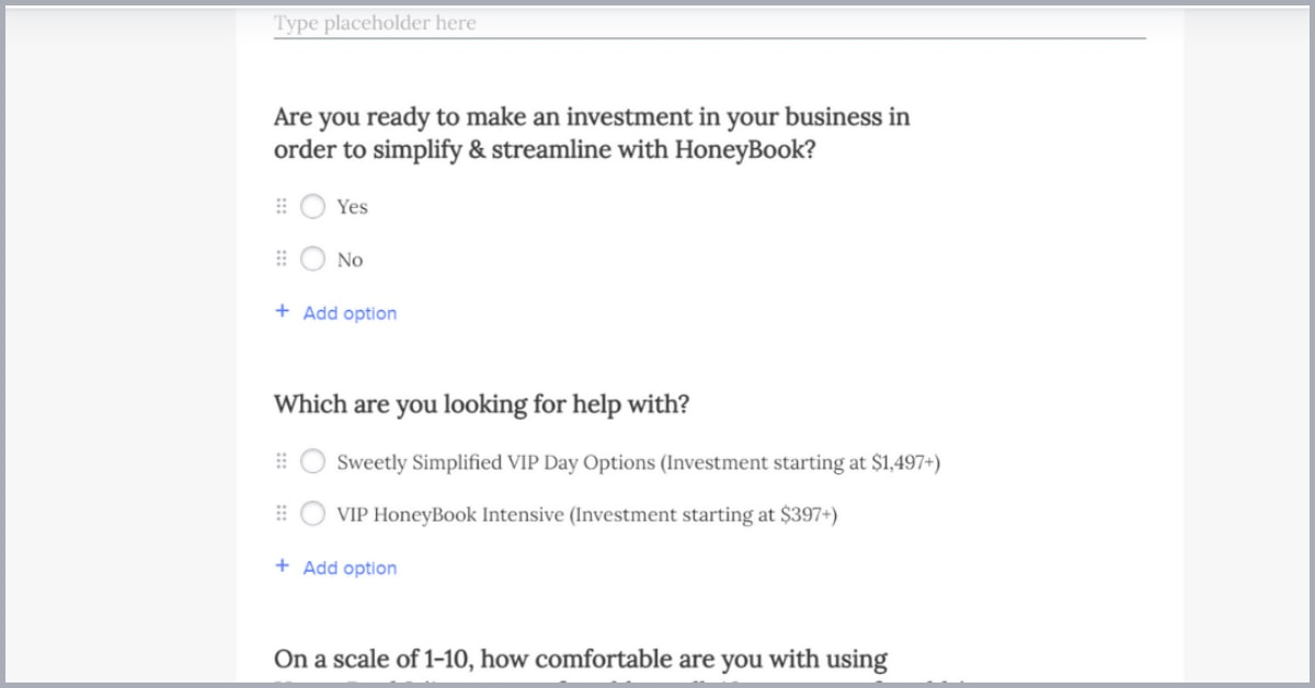 Screenshot of questions in a HoneyBook contact form asking about investment and services