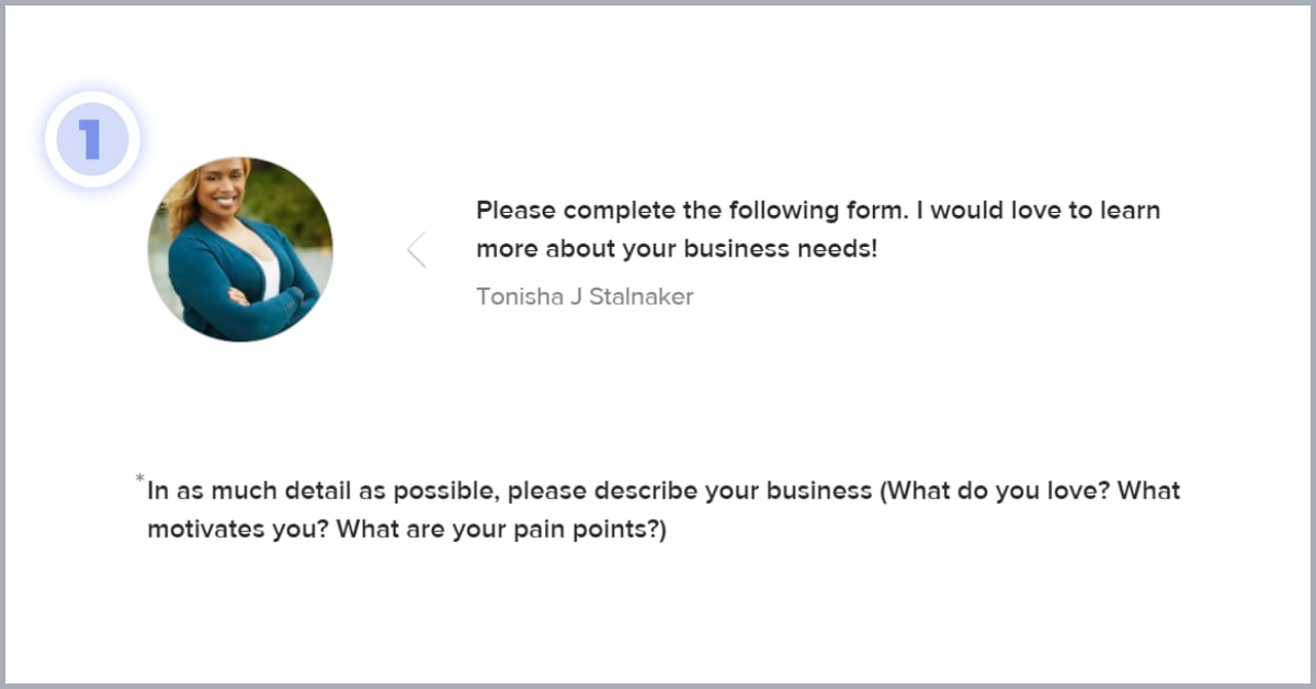 """Screenshot of Tonisha's contact form with the first question """"please describe your busines"""""""