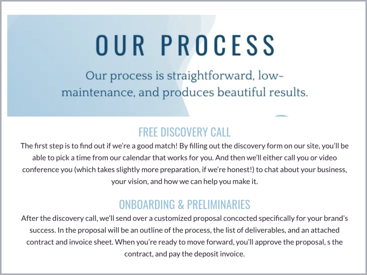 Screenshot of a process section in a HoneyBook brochure that includes blue-colored headers
