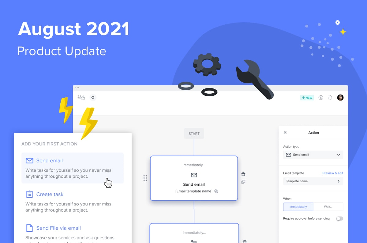 August 2021 Product Update graphic showing a screenshot of HoneyBook Automations
