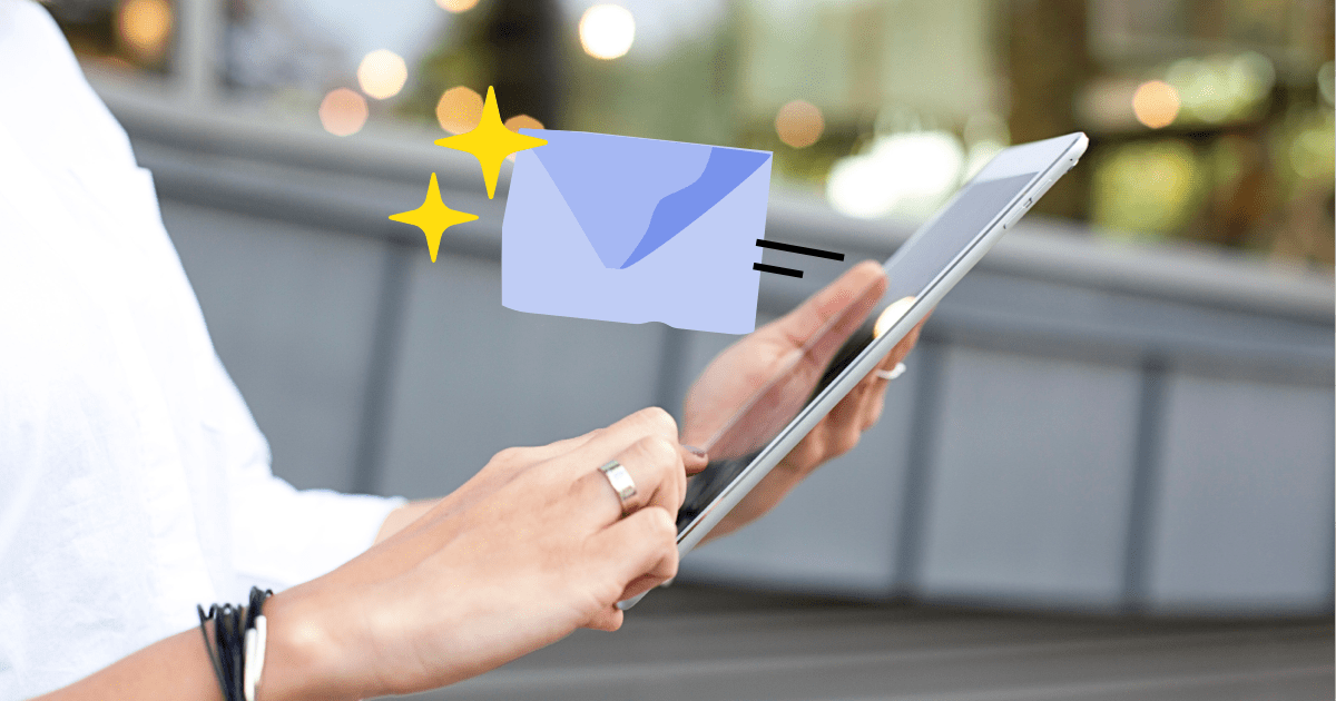 Photo of a woman's hand holding an iPad with an illustration of an envelope to show email marketing