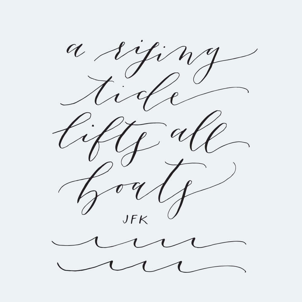 A Rising Tide Lifts All Ships - Poppy and Scooter Calligraphy for The Rising Tide Society