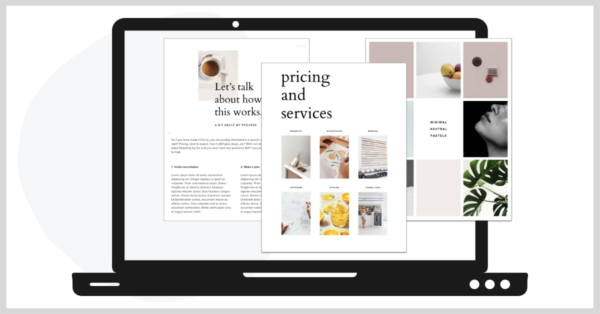 Laptop graphic showing multiple pages of a HoneyBook brochure with pricing and services