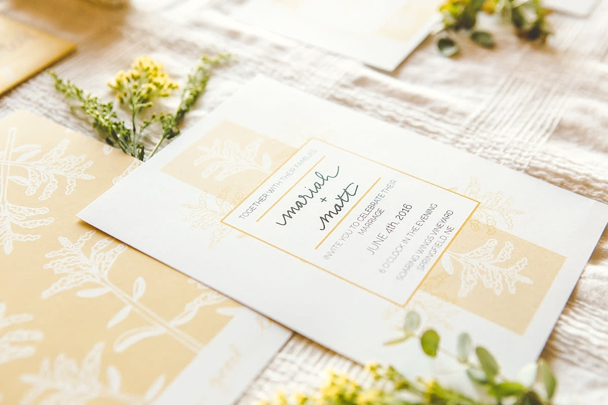 Yellow stationery suite from a Rising Tide Society Styled Shoot