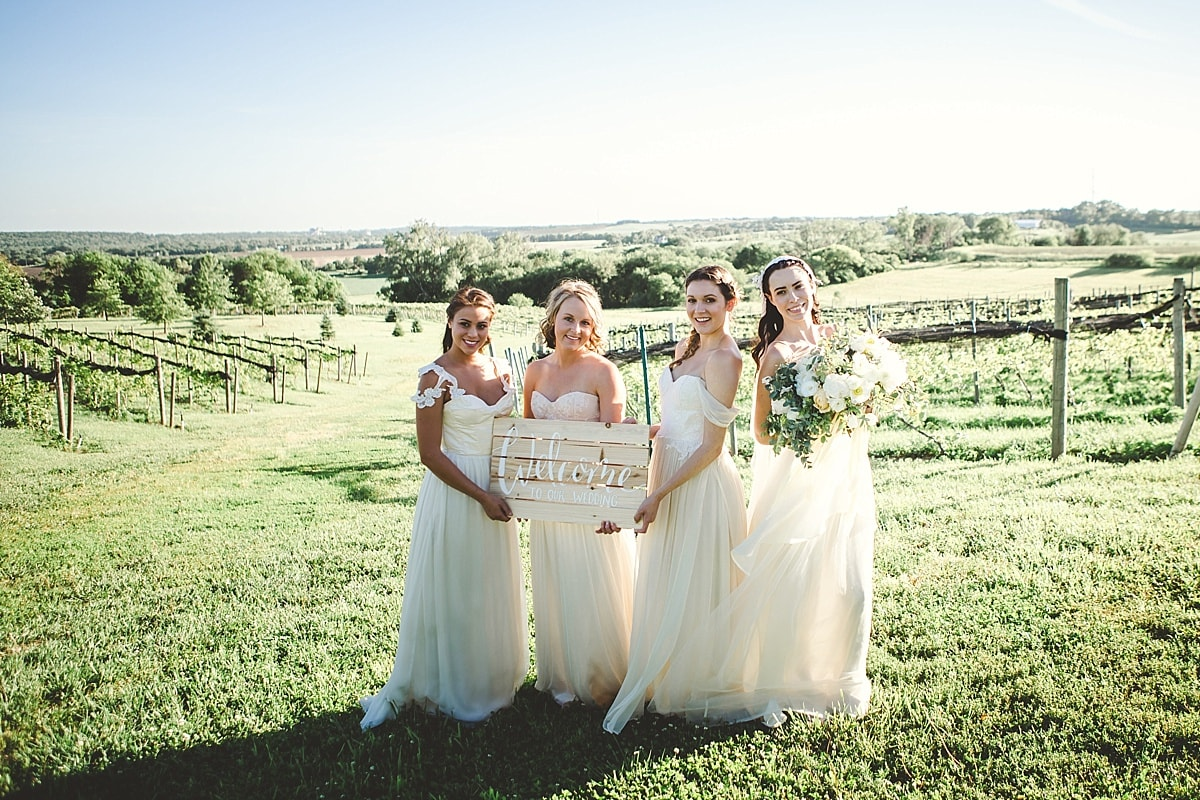 Bridemaids at a vineyard in Omaha, Nebraska