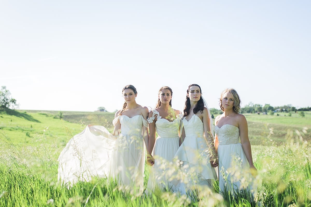 Bridesmaids in a field at a Rising Tide Society Styled Shoot