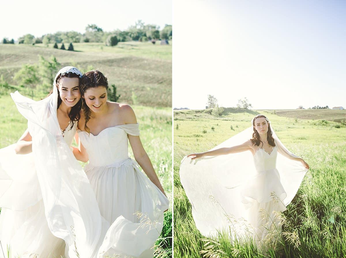Bride and bridesmaid at a vineyard styled shoot in Omaha, Nebraska