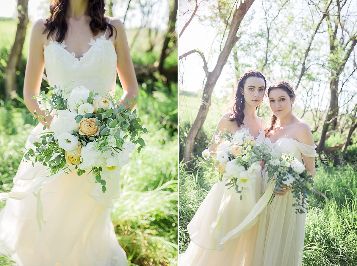 yellow and white bouquet for bride