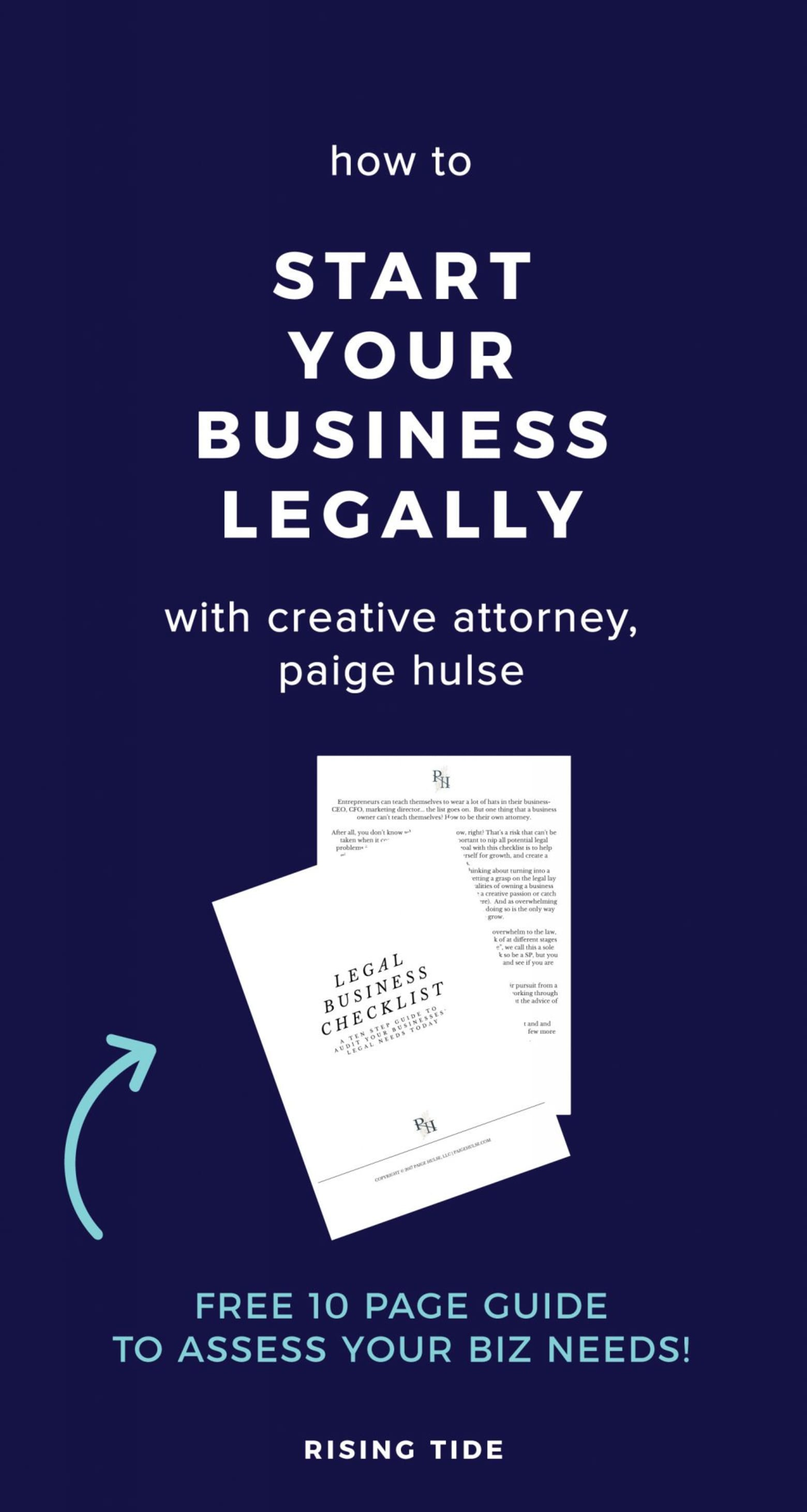 how to start your creative business legally, free guide to assess your business' legal needs, llc, sole-proprietor, dba, business legal checklist