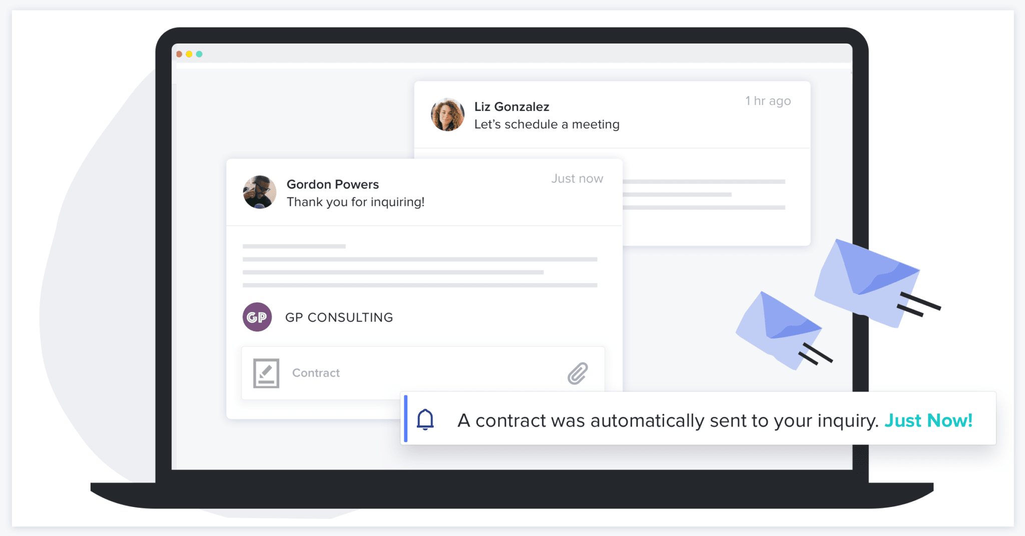 Laptop showing HoneyBook email automation with the steps to automatically send a contract