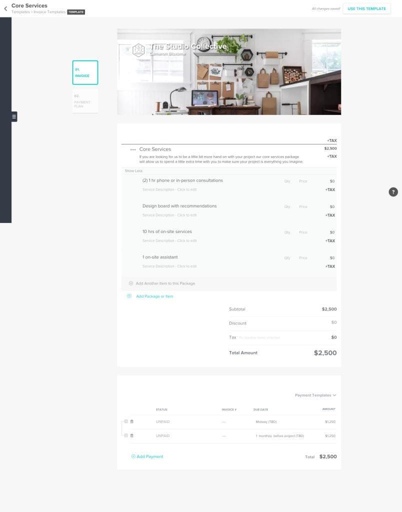 honeybook invoice template