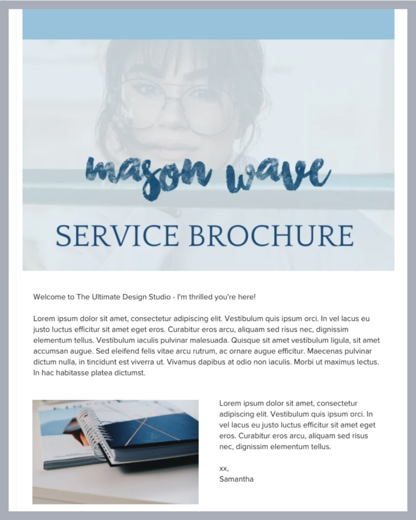 Screenshot of a HoneyBook brochure header that shows an introduction for a service brochure