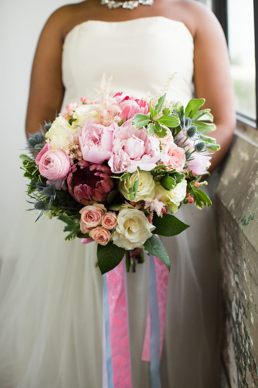 Houston Tuesdays Together (Rising Tide Society) Pantone Colors Styled Shoot, African American Bride, Bright and colorful wedding bouquet with ribbon