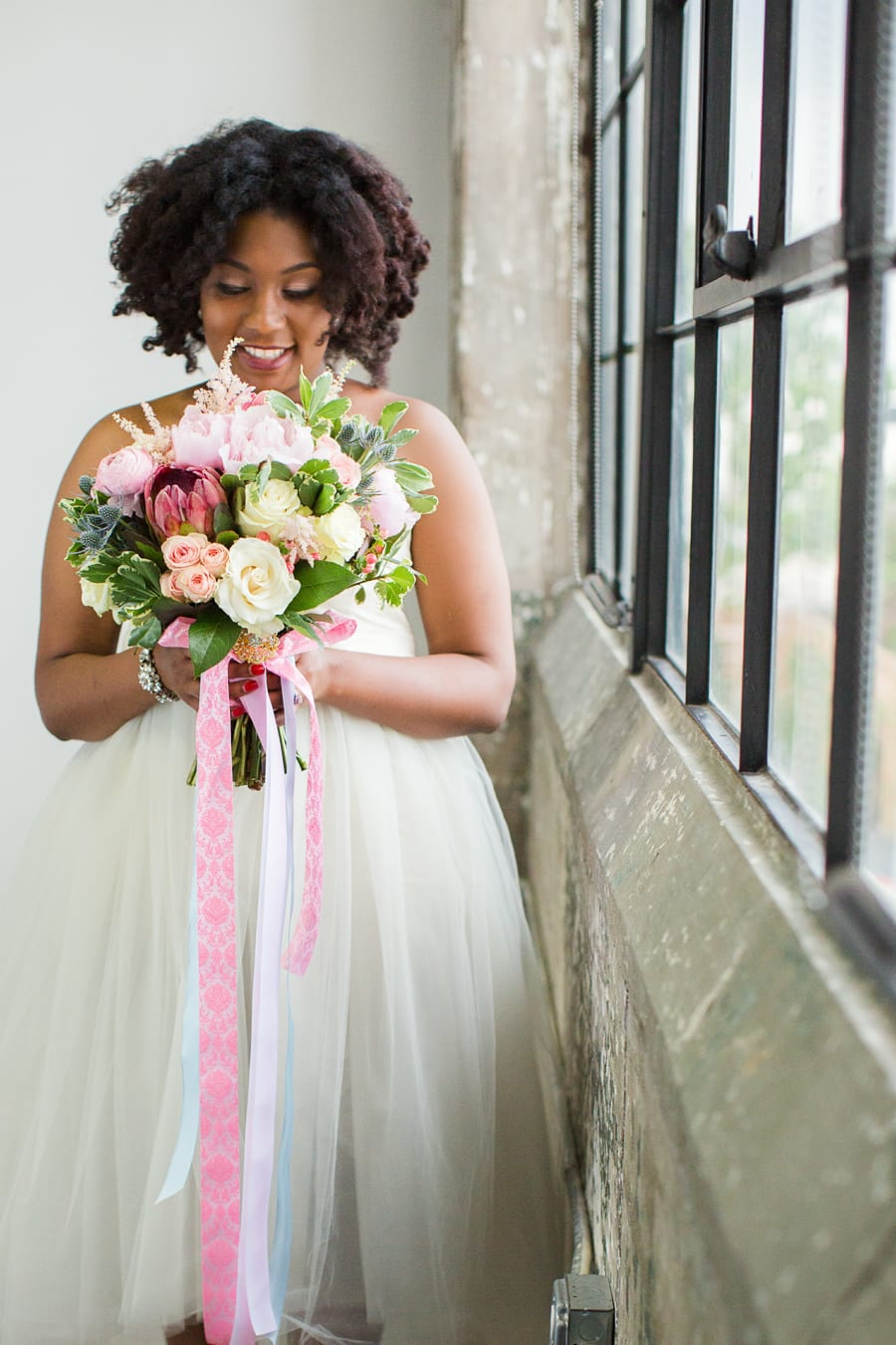 Houston Tuesdays Together (Rising Tide Society) Pantone Colors Styled Shoot, African American Bride, Colorful Wedding Bouquet
